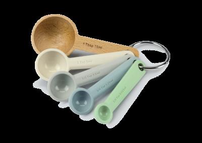 Silicone & Beechwood Measuring Spoon Set